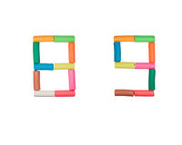 Plasticine alphabet Numbers (8,9). Alphabet letter made from plasticine Stock Photo