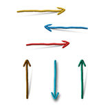 Plasticine arrows on white background Stock Photography
