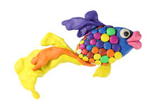 Plasticine art fish Stock Image