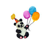 Plasticine baby panda in party hat sculpture isolated. On white royalty free stock images