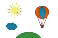 Plasticine balloon flight around the world Royalty Free Stock Photo