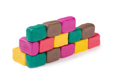 Plasticine brick wall Stock Images
