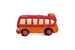 Plasticine bus isolated on white background Stock Photos