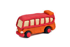 Plasticine bus  on white background Stock Photo