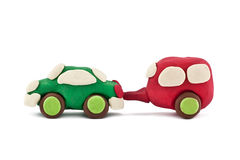 Plasticine car pulls trailer camping Stock Photos