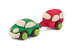 Plasticine car pulls trailer camping Stock Photography