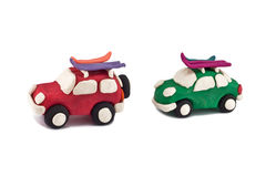 Plasticine cars Royalty Free Stock Images