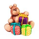 Plasticine chocolate bear Royalty Free Stock Photography