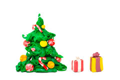 Plasticine Christmas tree Royalty Free Stock Images