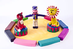 Plasticine circus. Animal trainer with tiger and lion Royalty Free Stock Photography