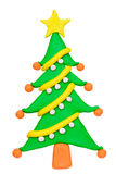 Plasticine clay Christmas tree Royalty Free Stock Image