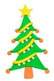 Plasticine clay Christmas tree. On white background Royalty Free Stock Image