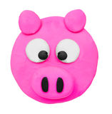 Plasticine clay pig face Royalty Free Stock Image