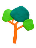 Plasticine clay tree. On white background Stock Photography