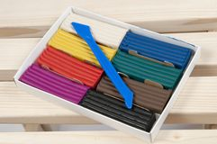 Plasticine collection. Childish plasticine collection in a box Royalty Free Stock Image