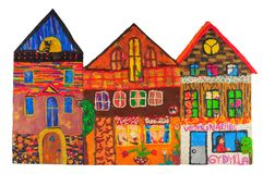 Plasticine colored house Royalty Free Stock Photos