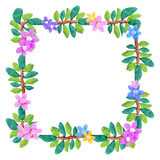 Plasticine  colorful floral frame sculpture isolated on white Stock Images