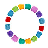 Plasticine  colorful rainbow frame sculpture isolated on white Royalty Free Stock Photography
