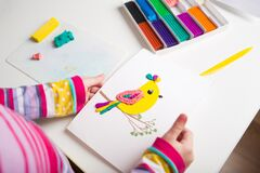 Free Plasticine Craft For Kids. Clay Bird. Royalty Free Stock Images - 200826669
