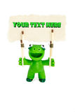 Plasticine creature with a poster Royalty Free Stock Photos
