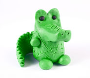 Plasticine crocodile. There is plasticine crocodile isolated over white Royalty Free Stock Photography