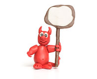 Plasticine Cute Devil Monster Royalty Free Stock Photo