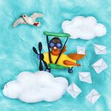 Plasticine 3D banner with retro plane and seagull Stock Photo