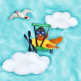 Plasticine 3D banner with retro plane and seagull Stock Photos