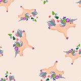 Plasticine   3D unicorn  sculpture seamless pattern. Plasticine  baby animal 3D unicorn  sculpture seamless pattern Stock Photography