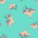 Plasticine   3D unicorn  sculpture seamless pattern. Plasticine  baby animal 3D unicorn  sculpture seamless pattern Royalty Free Stock Photos