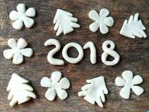 Plasticine 2018 di natale bianco fotografia stock
