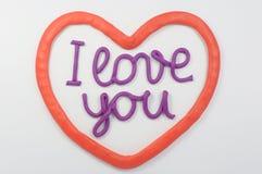 Plasticine die de liefde van I van letters voorziet u Stock Foto's