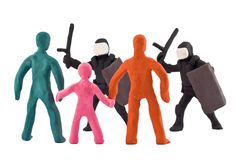 Plasticine dispersal of peaceful demonstrations Royalty Free Stock Photography