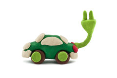 Plasticine electric car Royalty Free Stock Photography