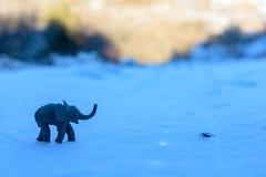 Plasticine elephant and spider adventure on the snow Stock Photos