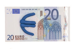 Plasticine euro icon and euro banknote Stock Photography