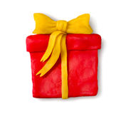 Plasticine figure of gift box Stock Photo