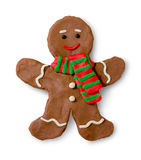 Plasticine figure of gingerbread man. Hand made plasticine figure of gingerbread man cookie with shadow on white background stock illustration