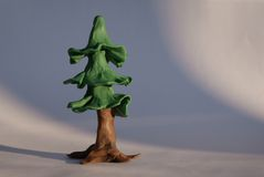 Plasticine fir tree Royalty Free Stock Image