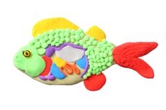 plasticine fish isolated on white background. modelling clay. inside the fish royalty free stock photo