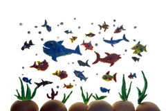 Plasticine fishes Royalty Free Stock Images