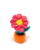 Plasticine flower. Red flower in a pot. It is made of plasticine Royalty Free Stock Photography