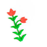 Plasticine flowers on white background Stock Image