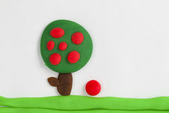 Plasticine fruit tree. Stock Image