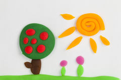 Plasticine fruit tree. Stock Photos