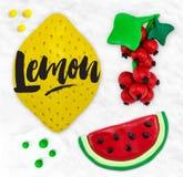 Plasticine fruits lemon Stock Photography
