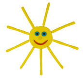 Plasticine funny sun Stock Photography