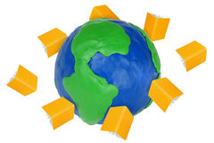 Plasticine Globe and books Royalty Free Stock Image