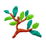 Plasticine  green  branch sculpture isolated Royalty Free Stock Images