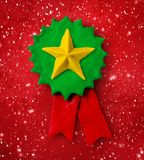 Plasticine green medal banner with star Royalty Free Stock Photos